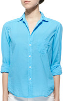 Frank And Eileen Eileen Long-Sleeve Poplin Blouse, Light Blue
