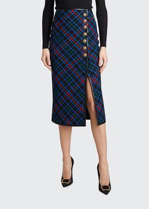 Saint Laurent Plaid Wool Leather-Trim Midi Skirt