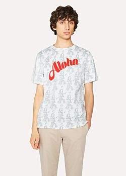 Paul Smith Men's Slim-Fit White 'Aloha' Print Cotton T-Shirt