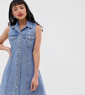 Asos DESIGN Petite denim sleevless skater shirt dress-Blue