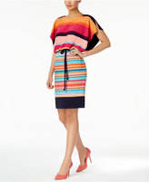 Sangria Striped Tie-Waist Blouson Dress