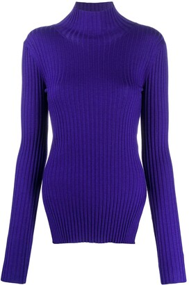 Plan C High-Neck Ribbed Jumper