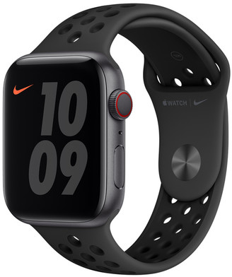 Apple Watch Nike Series 6 GPS + Cellular, 44mm Space Gray Aluminum Case with Anthracite/Black Nike Sport Band - Regular