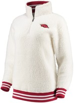 Unbranded Women's Cream Arkansas Razorbacks Varsity Banded Sherpa Quarter-Zip Pullover Jacket