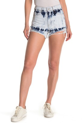 Tractr High Rise Distressed Bleached Denim Shorts