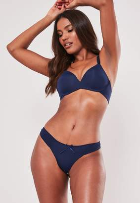 Missguided Navy Soft Bra And Thong Set