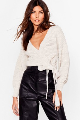 Nasty Gal Womens Take the Wrap Knitted Tie Cardigan - Beige - M/L