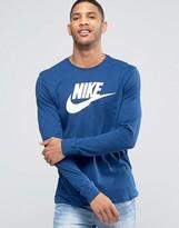 Nike Futura Icon Long Sleeve Top In Blue 708466-423