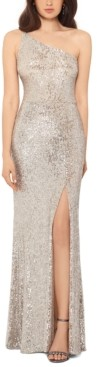 Xscape Evenings Petite One-Shoulder Sequined Gown