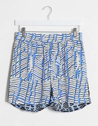 Noisy May co-ord shorts in blue spliced print