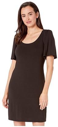 Tommy Bahama Tambour Short Sleeve Short Dress (Black) Women's Clothing