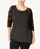 Belldini Plus Size Lace-Trim Top