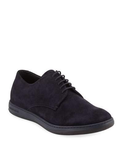 Giorgio Armani Perforated Suede Sport Derby, Navy