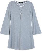 Amy Byer Bell-Sleeve Shift Dress & Necklace Set, Big Girls (7-16)