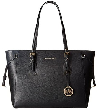 MICHAEL Michael Kors Voyager Medium Top Zip Tote (Black) Tote Handbags