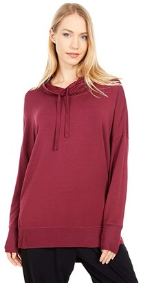 bobi Los Angeles Rayon Terry Funnel Neck Hoodie (Burgundy) Women's Clothing