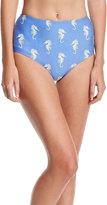 Kate Spade Seahorse-Print High-Waist Swim Bottom