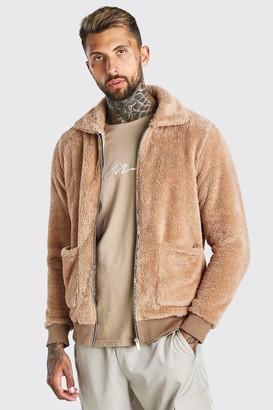 boohoo Mens Beige Borg Harrington Jacket, Beige