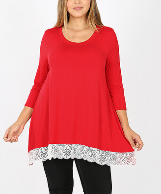 Lydiane Women's Tunics RUBY - Ruby Crewneck Three-Quarter Sleeve Lace-Trim Hi-Low Tunic - Women & Plus