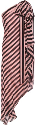 Temperley London Linden One-shoulder Asymmetric Bow-embellished Striped Silk-voile Midi Dress