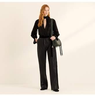 Amanda Wakeley Black Wide Leg Leather Trousers