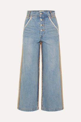 Andersson Bell - Distressed High-rise Wide-leg Jeans - Mid denim