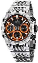 Festina Chrono Bike 2014 Men's Quartz Watch with Orange Dial Chronograph Display and Silver Stainless Steel Bracelet F16774/6