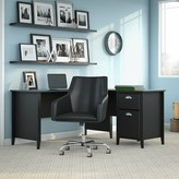 Kathy Ireland Home By Bush Furniture Connecticut L-Shaped Credenza Desk and Chair Set Home by Bush Furniture