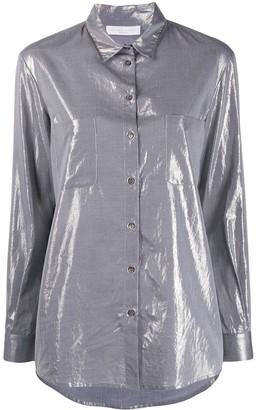 Fabiana Filippi beaded-collar lamé shirt