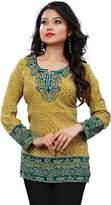 Maple Clothing Kurti Top Long Tunic Womens Printed Blouse India Clothing (, XL)