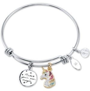 "Unwritten Rainbow Unicorn ""Make your own magic"" Crystal Charm Bangle Bracelet in Silver-Plate Stainless Steel"