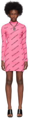 Balenciaga Pink Diagonal Logo Dress