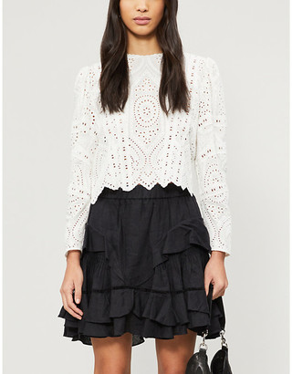 The Kooples Cropped broderie anglaise cotton top