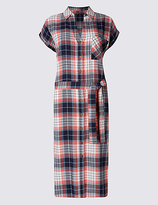 M&S Collection Pure Cotton Checked Midi Dress with Belt