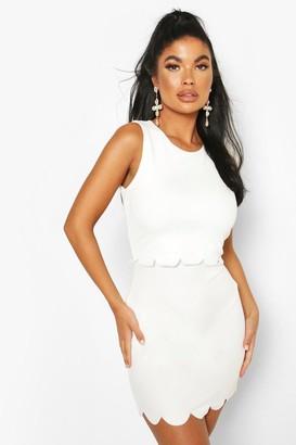 boohoo Petite Double Layer Scallop Hem Dress
