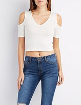 Charlotte Russe Ribbed Cold Shoulder Crop Top