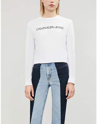 Calvin Klein Logo-print cropped boxy-fit cotton-jersey top