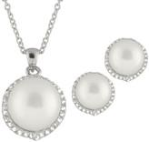Splendid Pearls Silver 9-9.5Mm Pearl & Cz Necklace & Drop Earrings Set