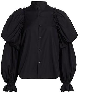 Noir Kei Ninomiya Tiered Balloon-Sleeve Poplin Shirt