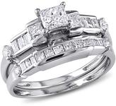 0.98ctw Diamond Engagement Ring and Wedding Band 14K White Gold 2-piece Set
