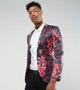 Asos Tall Super Skinny Blazer With Pink Floral Print