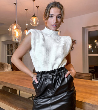 Reclaimed Vintage inspired leather look paperbag waist mini skirt in black