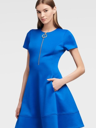 DKNY Women's Half-zip Fit-and-flare Dress - Royal - Size 00
