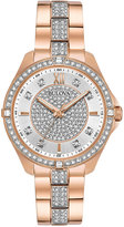 Bulova Women's Dress Crystal Rose Gold-Tone Stainless Steel Bracelet Watch 35mm 98L229