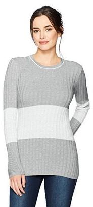 Foxcroft Women's Long Sleeve Josie Ribbed Stripe Colorblock Sweater