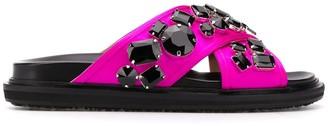 Marni Crystal-Embellished Flat Slides