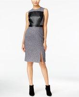 Catherine Malandrino Shari Faux-Leather-Front Sheath Dress