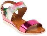 KensieGirl Pink & White Metallic Abstract Sandal