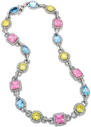 Genevive Silver Cz Multicolor Necklace