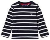 Gant Navy and White Stripe Branded Jumper